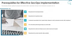 Information And Technology Security Operations Prerequisites For Effective Secops Implementation Designs PDF