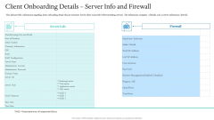 Information Technology Facilities Governance Client Onboarding Details Server Info And Firewall Ppt Ideas Display PDF