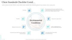 Information Technology Facilities Governance Client Standards Checklist Contd Icons PDF