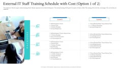 Information Technology Facilities Governance External IT Staff Training Schedule With Cost Assessment Ppt Layouts Ideas PDF