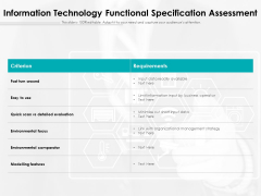 Information Technology Functional Specification Assessment Ppt PowerPoint Presentation Professional Skills PDF
