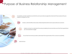 Information Technology Infrastructure Library Purpose Of Business Relationship Management Ppt Background Designs PDF