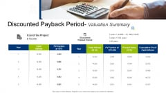 Infrastructure Building Administration Discounted Payback Period Valuation Summary Summary PDF