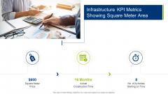 Infrastructure Building Administration Infrastructure KPI Metrics Showing Square Meter Area Portrait PDF