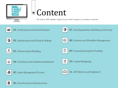 Infrastructure Project Management In Construction Content Mockup PDF