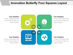 Innovation Butterfly Four Squares Layout Ppt PowerPoint Presentation Layouts Summary PDF