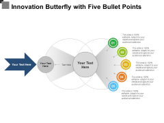 Innovation Butterfly With Five Bullet Points Ppt PowerPoint Presentation Styles Graphic Images PDF