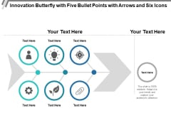 Innovation Butterfly With Five Bullet Points With Arrows And Six Icons Ppt PowerPoint Presentation Slides Inspiration PDF