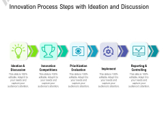 Innovation Process Steps With Ideation And Discussion Ppt PowerPoint Presentation File Guidelines PDF