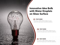 Innovative Idea Bulb With Water Droplets On Glass Surface Ppt PowerPoint Presentation Gallery Summary PDF