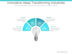 Innovative Ideas Transforming Industries Ppt PowerPoint Presentation Designs