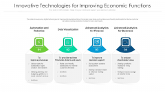 Innovative Technologies For Improving Economic Functions Ppt PowerPoint Presentation File Graphics Example PDF