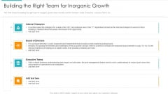 Inorganic Expansion Plan And Progression Building The Right Team For Inorganic Growth Icons PDF
