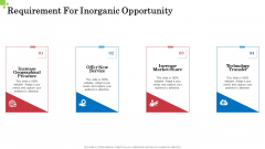 Inorganic Growth Business Requirement For Inorganic Opportunity Ppt Infographic Template Elements PDF