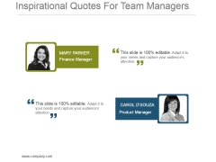 Inspirational Quotes For Team Managers Powerpoint Templates