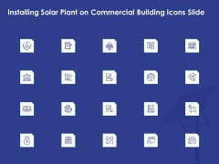 Installing Solar Plant On Commercial Building Icons Slide Mockup PDF