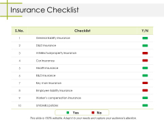Insurance Checklist Ppt PowerPoint Presentation Ideas Portfolio