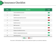 Insurance Checklist Ppt PowerPoint Presentation Layouts Structure