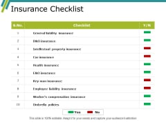 Insurance Checklist Ppt PowerPoint Presentation Show Brochure