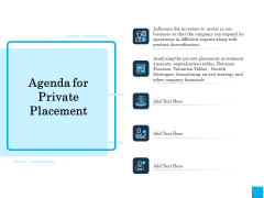 Insurance Organization Pitch Deck To Raise Money Agenda For Private Placement Inspiration PDF