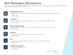 Insurance Organization Pitch Deck To Raise Money Exit Strategies Alternatives Ideas PDF