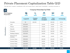 Insurance Organization Pitch Deck To Raise Money Private Placement Capitalization Table Shares Demonstration PDF