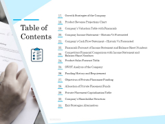 Insurance Organization Pitch Deck To Raise Money Table Of Contents Cash Mockup PDF