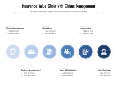 Insurance Value Chain With Claims Management Ppt PowerPoint Presentation File Slides PDF