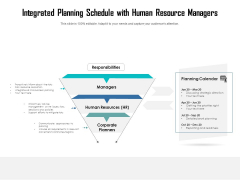 Integrated Planning Schedule With Human Resource Managers Ppt PowerPoint Presentation Gallery Slide PDF