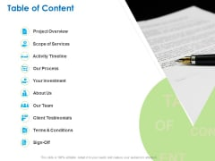 Intellectual Property Table Of Content Ppt PowerPoint Presentation Pictures Slide Portrait PDF