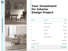 Interior Fitting Proposal Your Investment For Interior Design Project Ppt Model Maker PDF