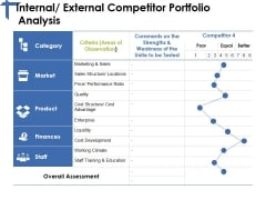 Internal External Competitor Portfolio Analysis Ppt PowerPoint Presentation Icon Background