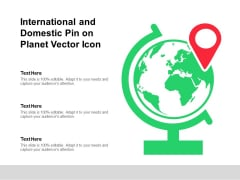 International And Domestic Pin On Planet Vector Icon Ppt PowerPoint Presentation Portfolio Clipart PDF