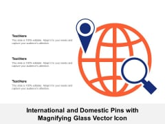 International And Domestic Pins With Magnifying Glass Vector Icon Ppt PowerPoint Presentation Styles Example File PDF
