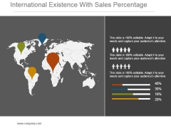 International Existence With Sales Percentage Powerpoint Slide Themes