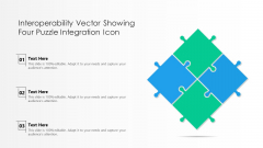 Interoperability Vector Showing Four Puzzle Integration Icon Ppt PowerPoint Presentation File Layouts PDF
