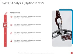 Introduce Yourself Swot Analysis Option 2 Of 2 Weaknesses Ppt File Show PDF