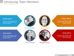 Introducing Team Members Ppt PowerPoint Presentation Clipart