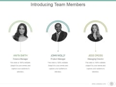 Introducing Team Members Ppt PowerPoint Presentation Inspiration