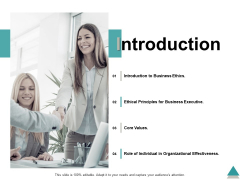 Introduction Business Ethics Core Values Ppt PowerPoint Presentation Ideas Examples