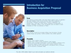 Introduction For Business Acquisition Proposal Ppt PowerPoint Presentation Professional Graphics