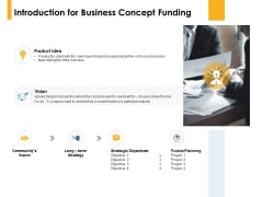 Introduction For Business Concept Funding Product Idea Ppt PowerPoint Presentation Icon Slides