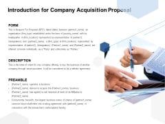 Introduction For Company Acquisition Proposal Ppt PowerPoint Presentation File Slideshow