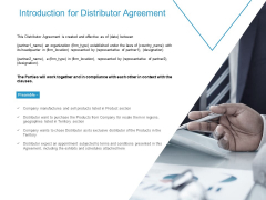 Introduction For Distributor Agreement Ppt PowerPoint Presentation Gallery Background Designs