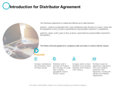 Introduction For Distributor Agreement Ppt PowerPoint Presentation Pictures Slideshow