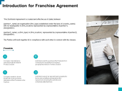 Introduction For Franchise Agreement Ppt PowerPoint Presentation Show Good