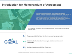 Introduction For Memorandum Of Agreement Ppt PowerPoint Presentation Infographics Guide