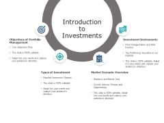 Introduction To Investments Ppt PowerPoint Presentation Ideas Infographic Template