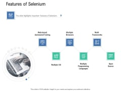 Introduction To Selenium Automation Testing Features Of Selenium Ppt PowerPoint Presentation Ideas Example Introduction PDF