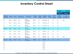 Inventory Control Sheet Ppt PowerPoint Presentation Gallery Graphics Example
